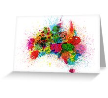 Australia Paint Splashes Map Greeting Card