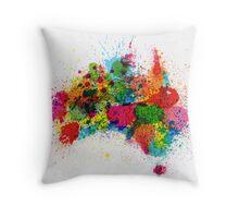Australia Paint Splashes Map Throw Pillow
