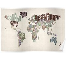 Text Map of the World Poster