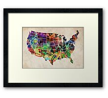 USA Watercolor Map Framed Print