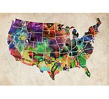 USA Watercolor Map Photographic Print