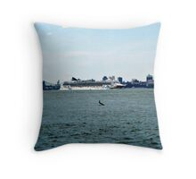 Norweigan Cruise Line on the Hudson Throw Pillow