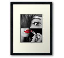Teen girl applying make up Framed Print