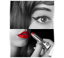 Teen girl applying make up Poster