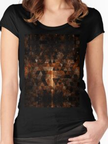 Gold beam in geometric sparkly universe Women's Fitted Scoop T-Shirt