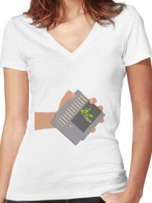 Vsauce outro NES cartridge Women's Fitted V-Neck T-Shirt