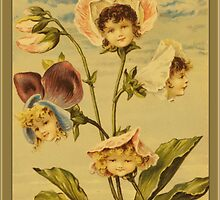 Vintage Flower Babies Greetings by Yesteryears