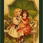 Vintage Umbrella Girls Greetings by Yesteryears