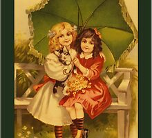Vintage Umbrella Girls Greetings by Yesteryears