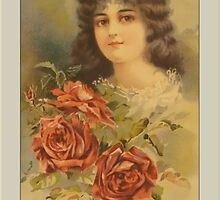 Vintage Woman with Roses Greetings by Yesteryears