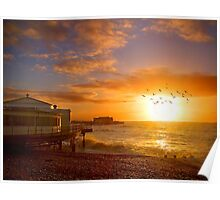 Worthing Beach Sunrise 5 - Boxing Day 2012 - HDR Poster