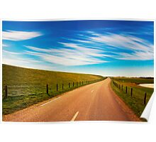 Peaceful evening road in Texel Poster
