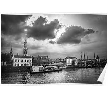 Riverside town in black and white Poster