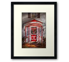 Door - Winter - Christmas kitty Framed Print