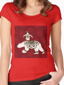 Winter Pals Red Women's Fitted Scoop T-Shirt