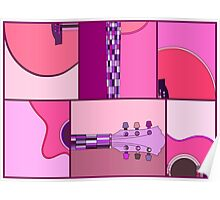 Modern Pop Art Guitar in Pinks and Purples Poster