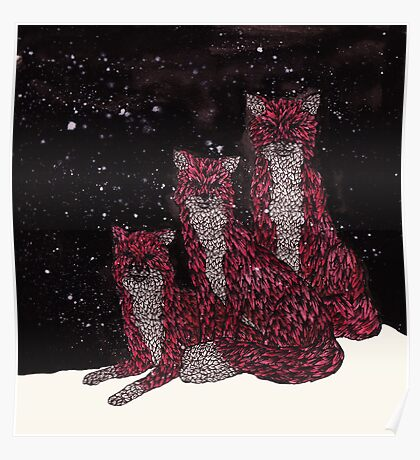 Leafy Fox Cubs in the Snow Poster