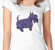 Scottish Terrier Watercolour  Women's Fitted Scoop T-Shirt