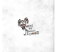 """Hand Drawn """"Where's My F***ing Carrots?"""" Bunny Photographic Print"""
