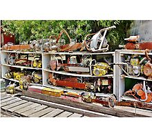 The Wall of Old Chainsaws Photographic Print