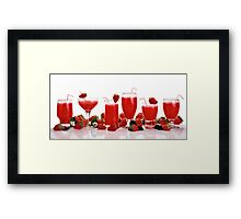cool and refreshing red strawberry juice and strawberries Framed Print
