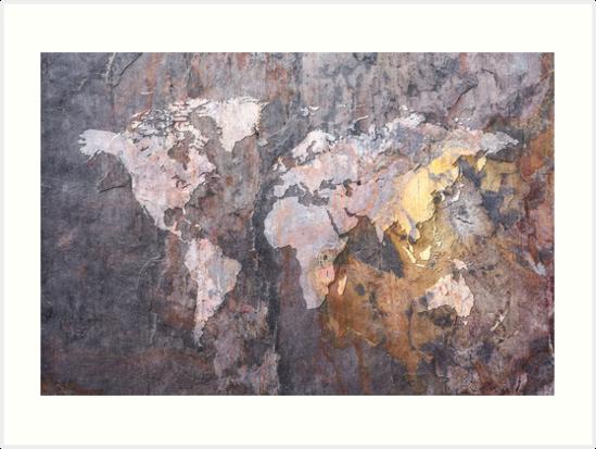 World Map on Stone Background by Michael Tompsett