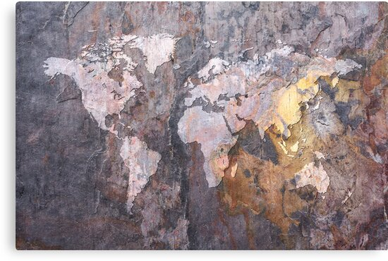 World Map on Stone Background by Michael Tompsett
