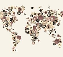 Flower World Map Sepia by Michael Tompsett