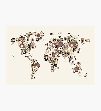 Flower World Map Sepia Photographic Print