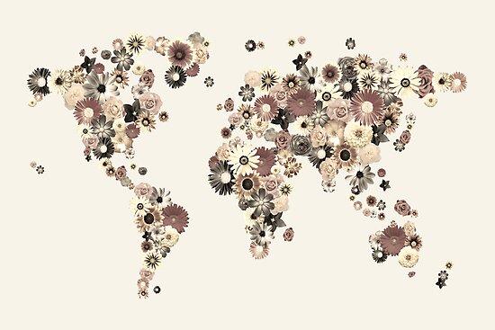 Flower World Map Sepia by Michael Tompsett