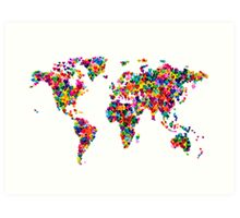 Love Hearts Map of the World Map Art Print