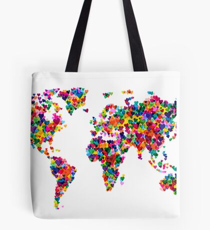 Love Hearts Map of the World Map Tote Bag