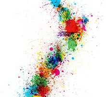 New Zealand Paint Splashes Map by ArtPrints
