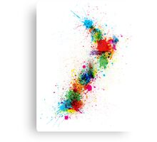 New Zealand Paint Splashes Map Canvas Print