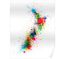 New Zealand Paint Splashes Map Poster