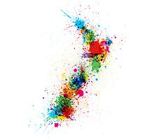 New Zealand Paint Splashes Map Photographic Print