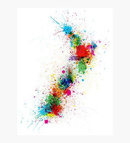 New Zealand Paint Splashes Map Photographic Print