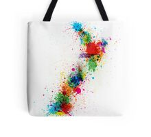 New Zealand Paint Splashes Map Tote Bag