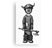 Funny viking black and white pen ink drawing Canvas Print
