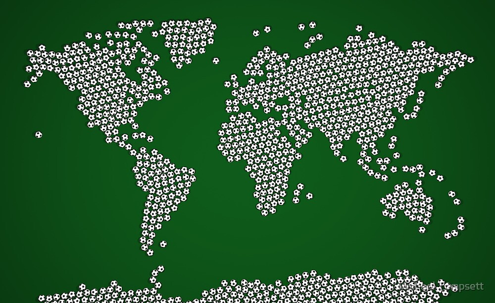 Football Soccer Balls World Map by Michael Tompsett