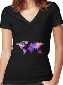 Holographic map Women's Fitted V-Neck T-Shirt