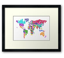 Typographic Text Map of the World Framed Print