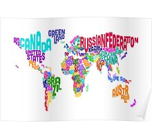 Typographic Text Map of the World Poster