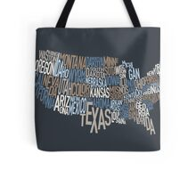 United States Text Map Tote Bag