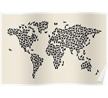 Cats Map of the World Map Poster