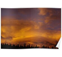 Powerful evening clouds and colors, Rocky Mountains Poster