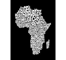 Map of Africa Map Text Art Photographic Print