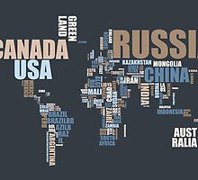 World Map in Words by Michael Tompsett