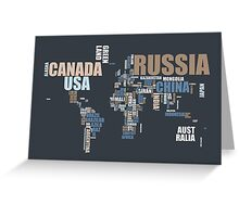 World Map in Words Greeting Card