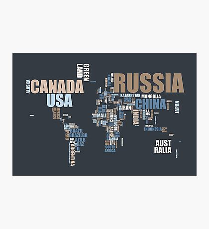 World Map in Words Photographic Print
